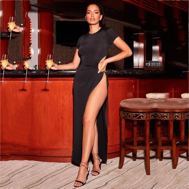 New fashion solid color pleated lace dress with irregular high opening in summer sexy legless women's clothing 4