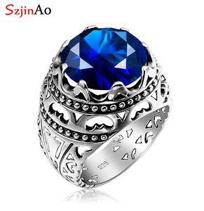 Image 1 - Szjinao Silver Rings For Men Real Sterling Silver 925 Round Carve Sapphire Gemstones Ring Vintage Fashion Ethnic Branded Jewelry