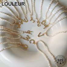 LouLeur New 925 Sterling Silver Necklace Freshwater Pearl Chain English Letter Pendant Necklace For Women Girls Fine Jewelry