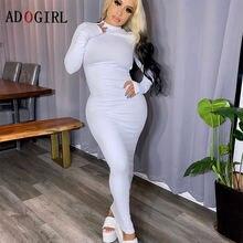 Adogirl/облегающее однотонное платье с длинным рукавом сексуальное