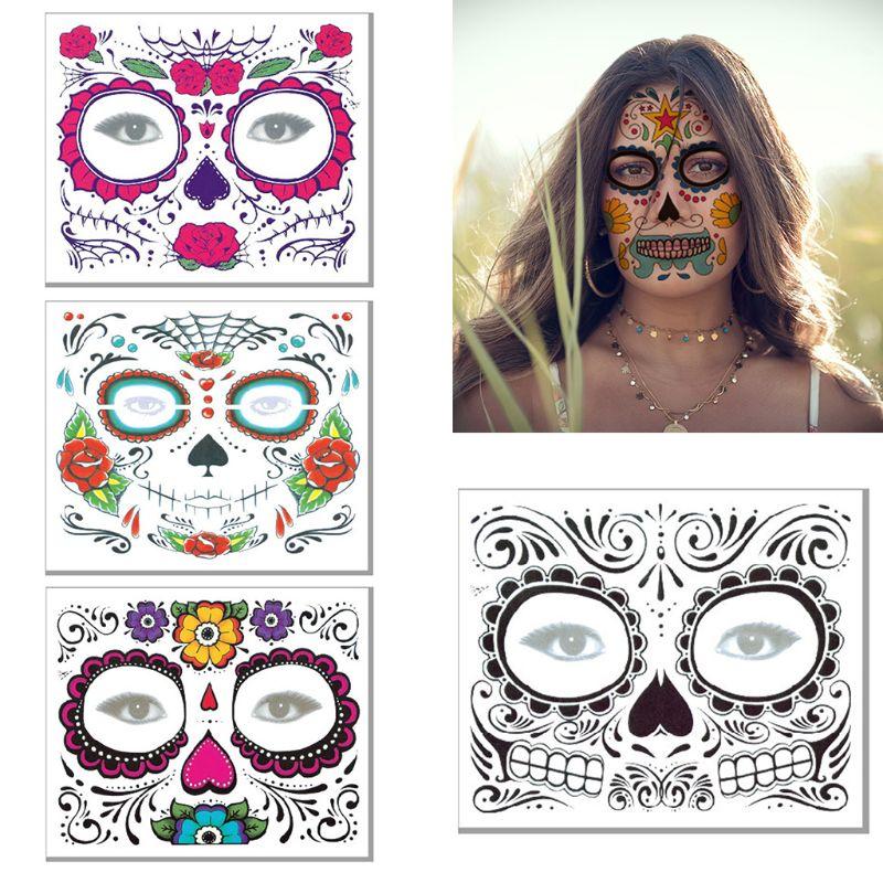 Halloween cara tatuajes temporales calcomanías Día de los muertos azúcar cráneo Floral esqueleto máscara Unisex mexicano fiesta Favor suministros - 3