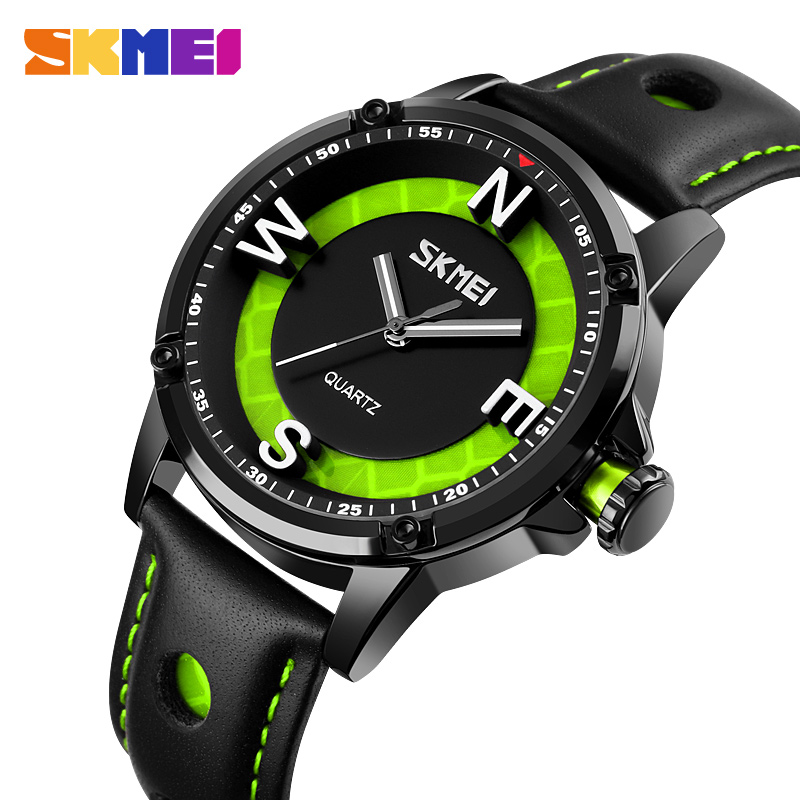 2020 SKMEI Fashion 3D Big Dial Men Quartz Watches Casual Leather Strap Male Clock Waterproof Wristwatches Relogio Masculino 9211