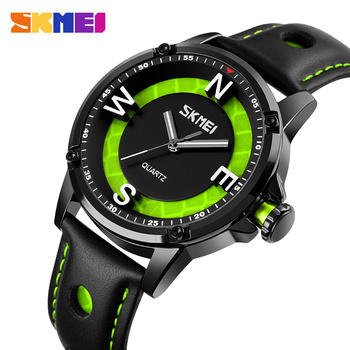 2020 SKMEI Fashion 3D Big Dial Men Quartz Watches Casual Leather Strap Male Clock Waterproof Wristwatches Relogio Masculino 9211 baogela men s leisure quartz watches fashion clock leather strap analogue wristwatch relogios masculino 3atm waterproof bl1808
