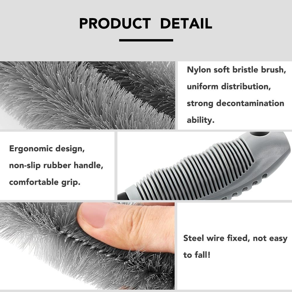Image 3 - Car Washing Cleaning tool Wheel Tire Rim Scrub Brush Car Brush Tool for Volkswagen VW Golf 4 6 7 GTI Tiguan Passat B5 B6 B7 CC-in Car Stickers from Automobiles & Motorcycles