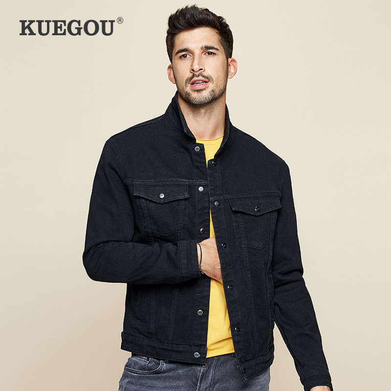 KUEGOU Men's Denim Jacket South Korean Style Fashion Spring Coat Black,grey, Cultivate One's Morality Cowboy Coat Lapels KW-2988