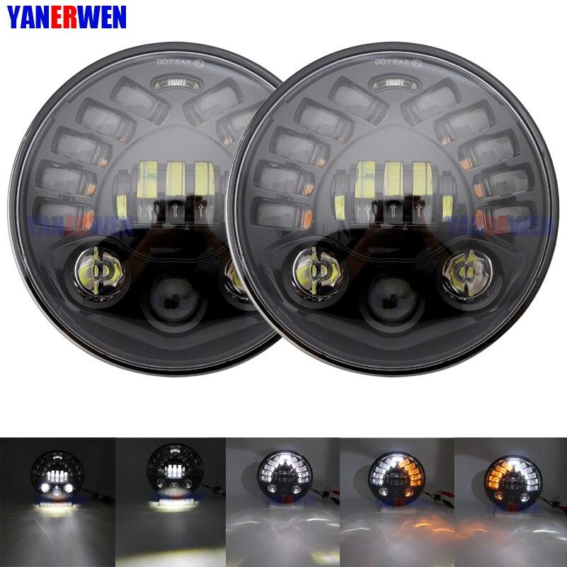 Светодиодный налобный фонарь 7 дюймов, точечный, новый, матричный стиль, 70 Вт, Круглый, с ДХО, поворотные сигнальные огни для Jeep Wrangler Hummer
