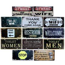 Placa Metal Vintage Pub señal de conexión WiFi placas de pared abierta signos de baño Bar Club decoración del hogar 15x30cm