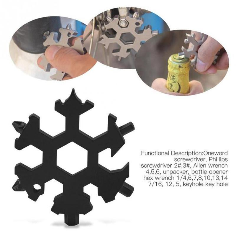 19-in-1 Snow Keychain Tools Outdoor Multi-tool Wrenches Combination Compact Outdoor Portable Snowflake Tool