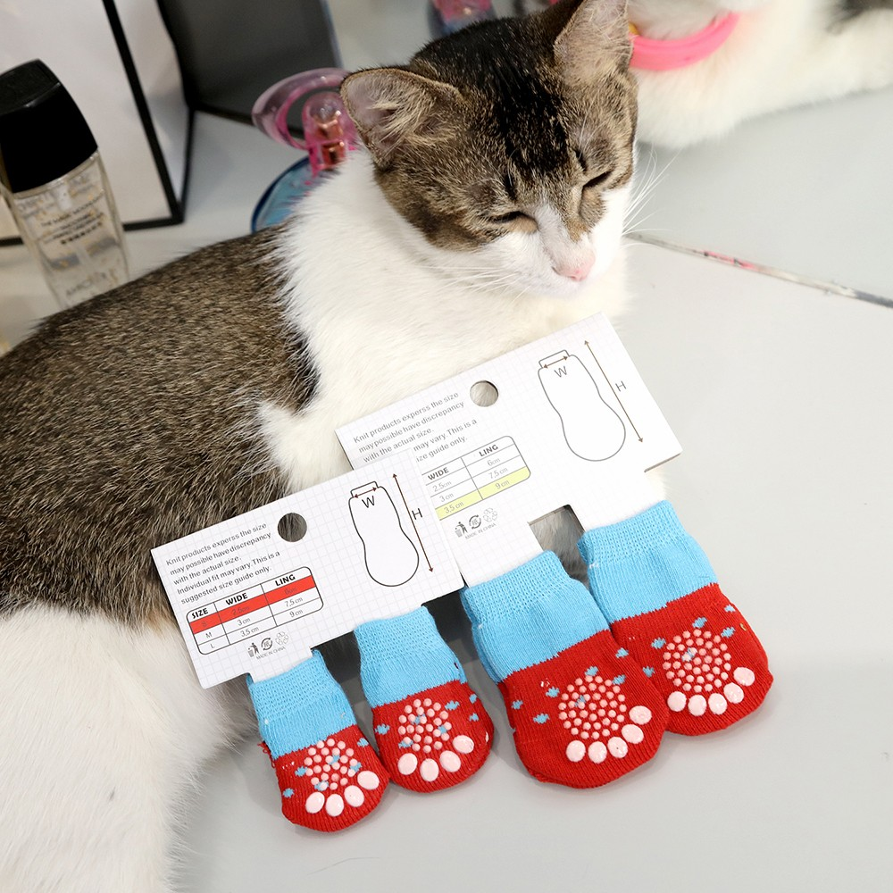 Winter Pet Dog Socks Anti-Slip Knit Socks Small Dogs Cat Shoes Chihuahua Thick Warm Paw Protector Pet Dog Booties Accessories