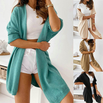 Ladies Cardigan Sweaters Coat Women Loose Solid Color Hooded Cardigan Long Sleeve Open Front Knitted Sweaters Cardigan Outwear