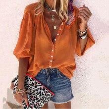 Orange Long Sleeve Women's Shirt Blouse Autumn Office Lady B