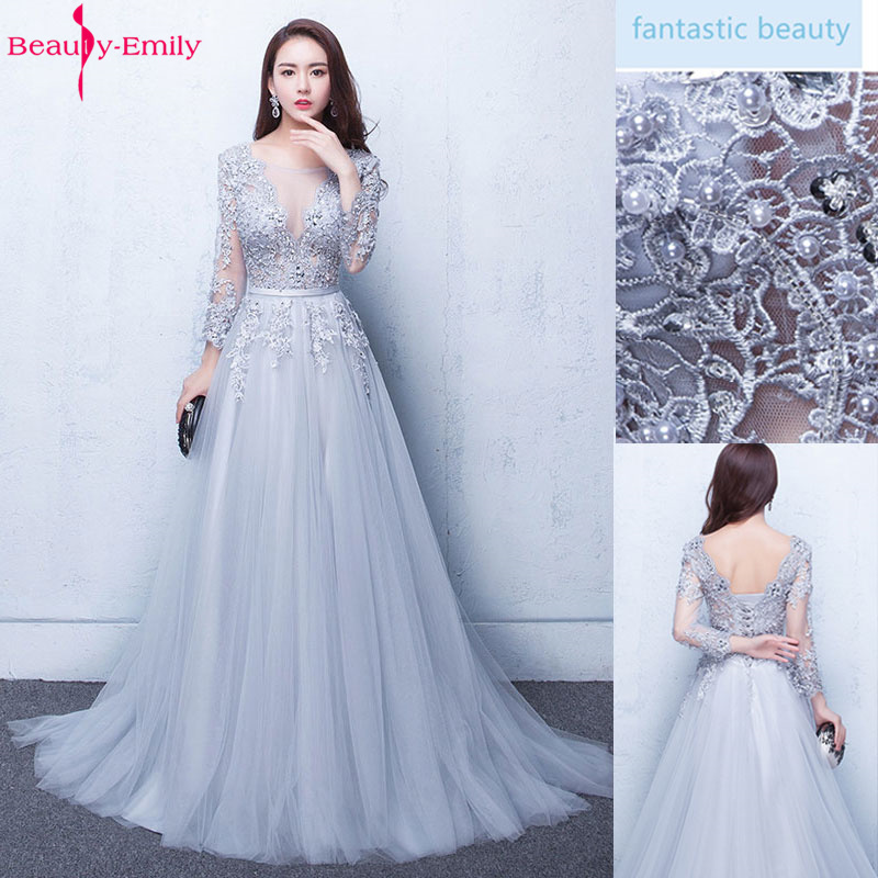 Beauty Emily V Neck Elegant Evening Dresses Long 2020 for Women Beading Lace Up Back Pearls Prom Gowns Party Dress Plus Size 1