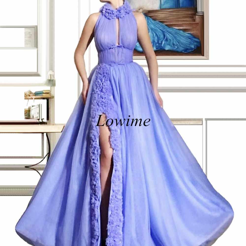 Nouveau Vintage arabe célébrité robes 2019 col haut sans manches tapis rouge robe de soirée robes de bal fête Abendkleider personnalisé