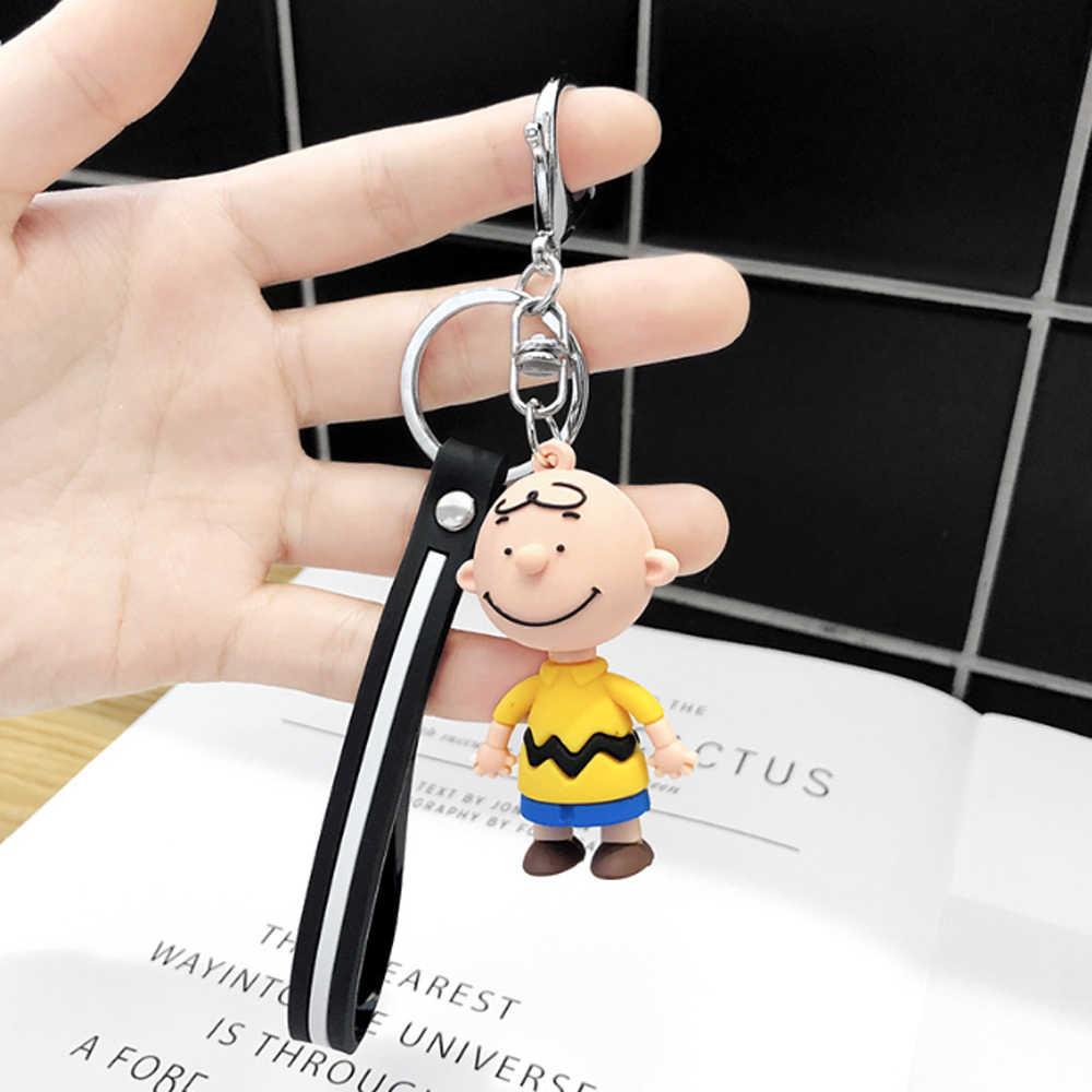 Charlie Brown Dolls Personagem Chave Anéis Dos Desenhos Animados Anime Chaveiros Para Homens E das Mulheres Sacos Pingente de Chave Do Carro de Silicone chave Cadeias