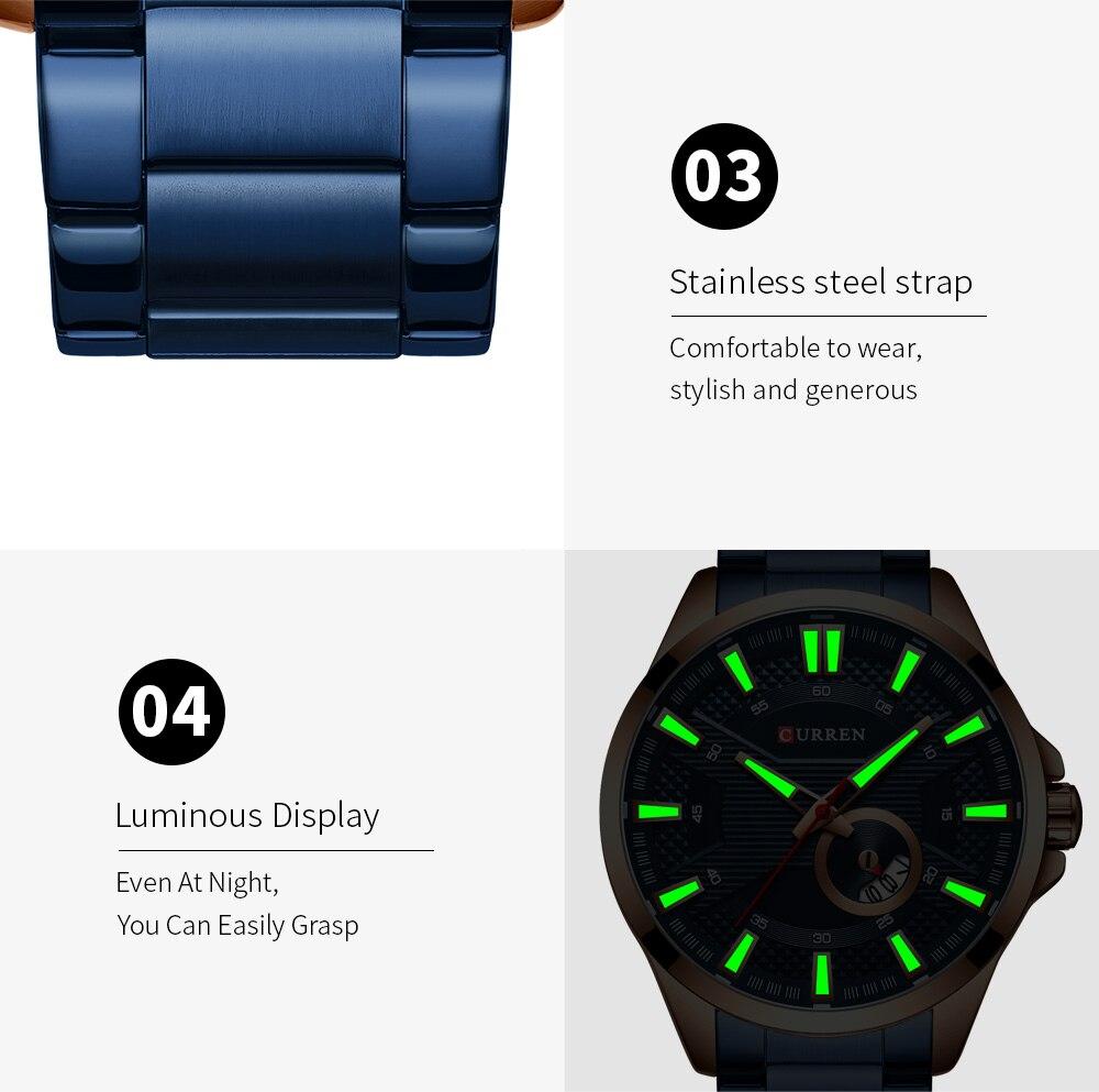Hf98a52c60fd548a89a709e80c7ec14c8z New Stainless Steel Quartz Men's Watches Fashion CURREN Wrist Watch Causal Business Watch Top Luxury Brand Men Watch Male Clock