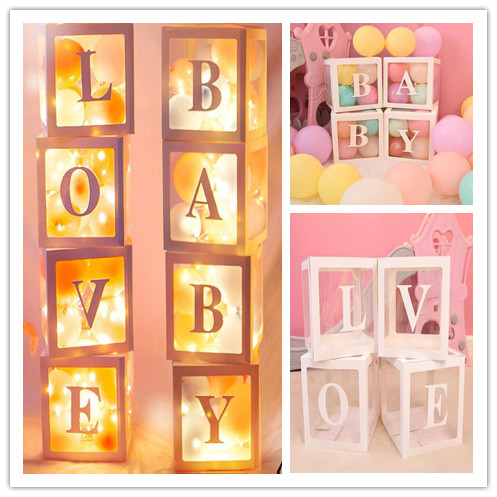 Transparent Balloons Box Name Age Baby 1st One Birthday Party Decor Baby Shower Decorations Gift Babyshower Supplies