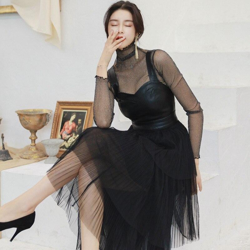 2019 automne maille Patchwork Sexy Robe de soirée femmes Stand noir pure Robe femmes bretelles PU en cuir dîner Robe grande taille Robe