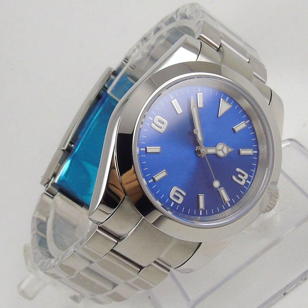 BLIGER izle 40mm mavi kadran safir tarih ekran aydınlık eller MIYOTA otomatik hareketi erkek saati 133