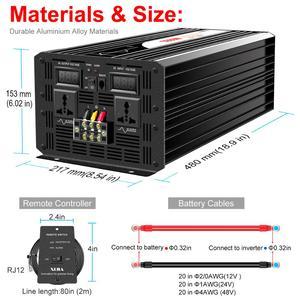 Image 5 - Onduleur pour installation solaire à onde sinusoïdale pure 5000W, 12 24 48V DC vers 110 220V AC, avec télécommande et affichage numérique