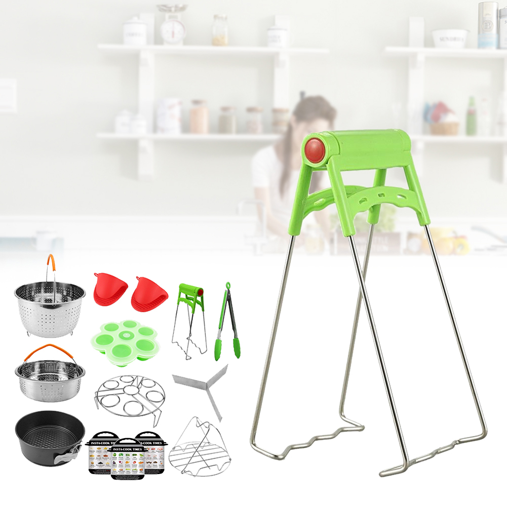 14PCS Kitchen Pressure Cooker Accessories Set Mold Steamer Basket Baking Home Oven Mitts Stainless Steel Eggs Rack Air Fryer