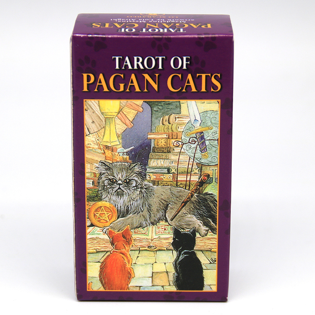 Tarot of Pagan Cats Cards 78 Full-Color Cards Mini Deck Five Languages English Spanish Tarot Divination Beginner Toy Game 2