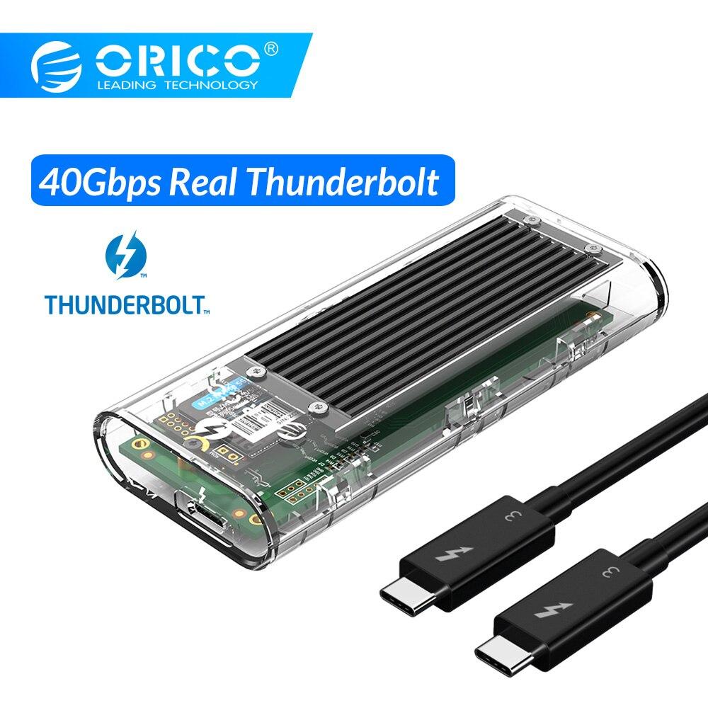 ORICO Thunderbolt 3 40gbps M.2 NVME SSD Boîtier 2 to Transparent USB C boîtier SSD avec 40Gbps C à C Pour Mac Windows