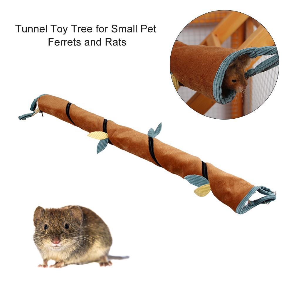Tunnel Toy Tree Vines For Small Pet Ferrets Rats Hamster Winter Warm Short Plush Toys With Zipper Easy Clean Pet Supplies