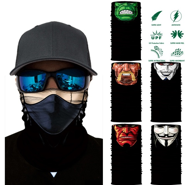 3D Seamless Multifunction Magic Comic Characters Tubular Skull Shield Face Guard Headband Bandana Headwear Ring Head Scarf Men 1