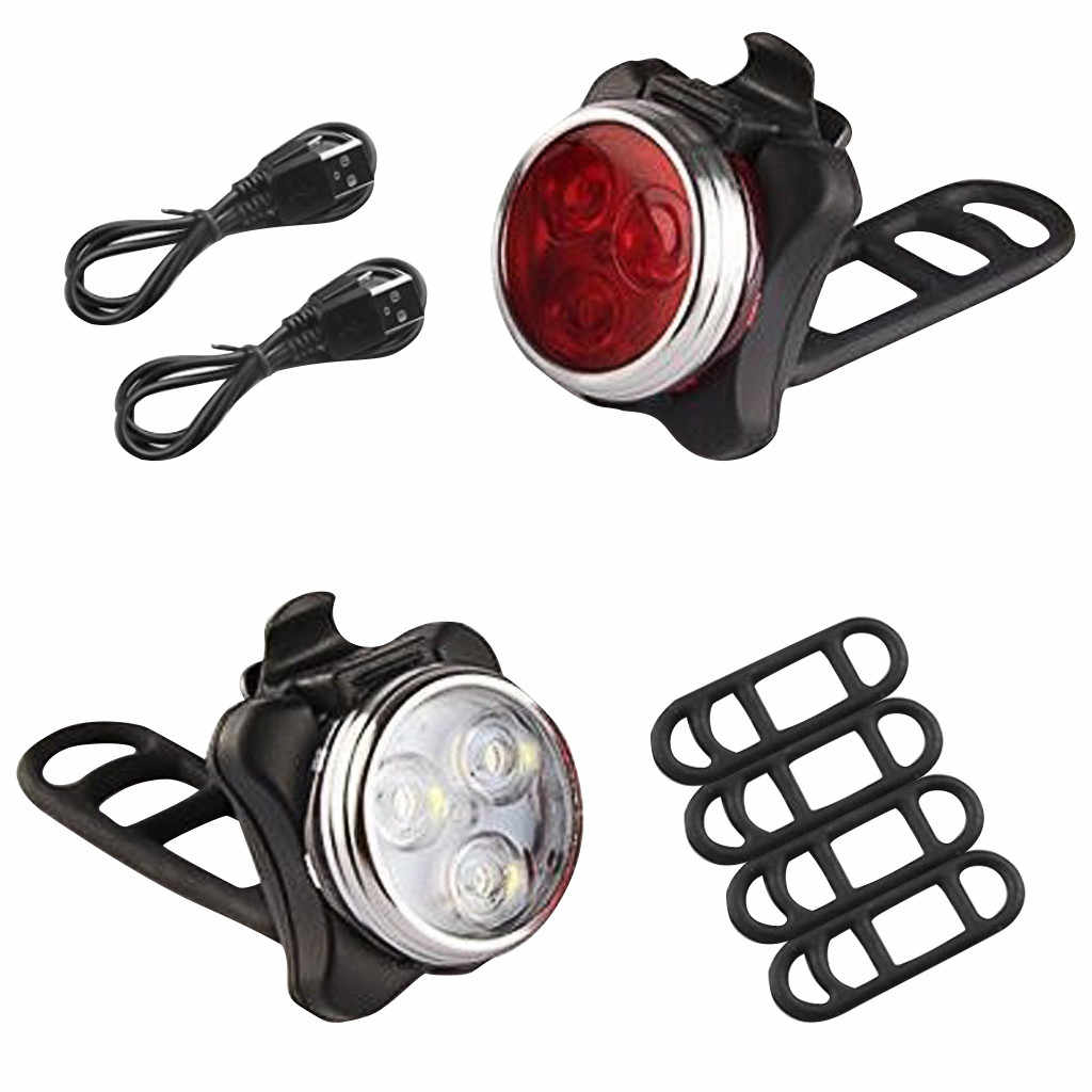 USB Rechargeable Cycling Bicycle Light Mountain Bike Super Light Charging Tailli