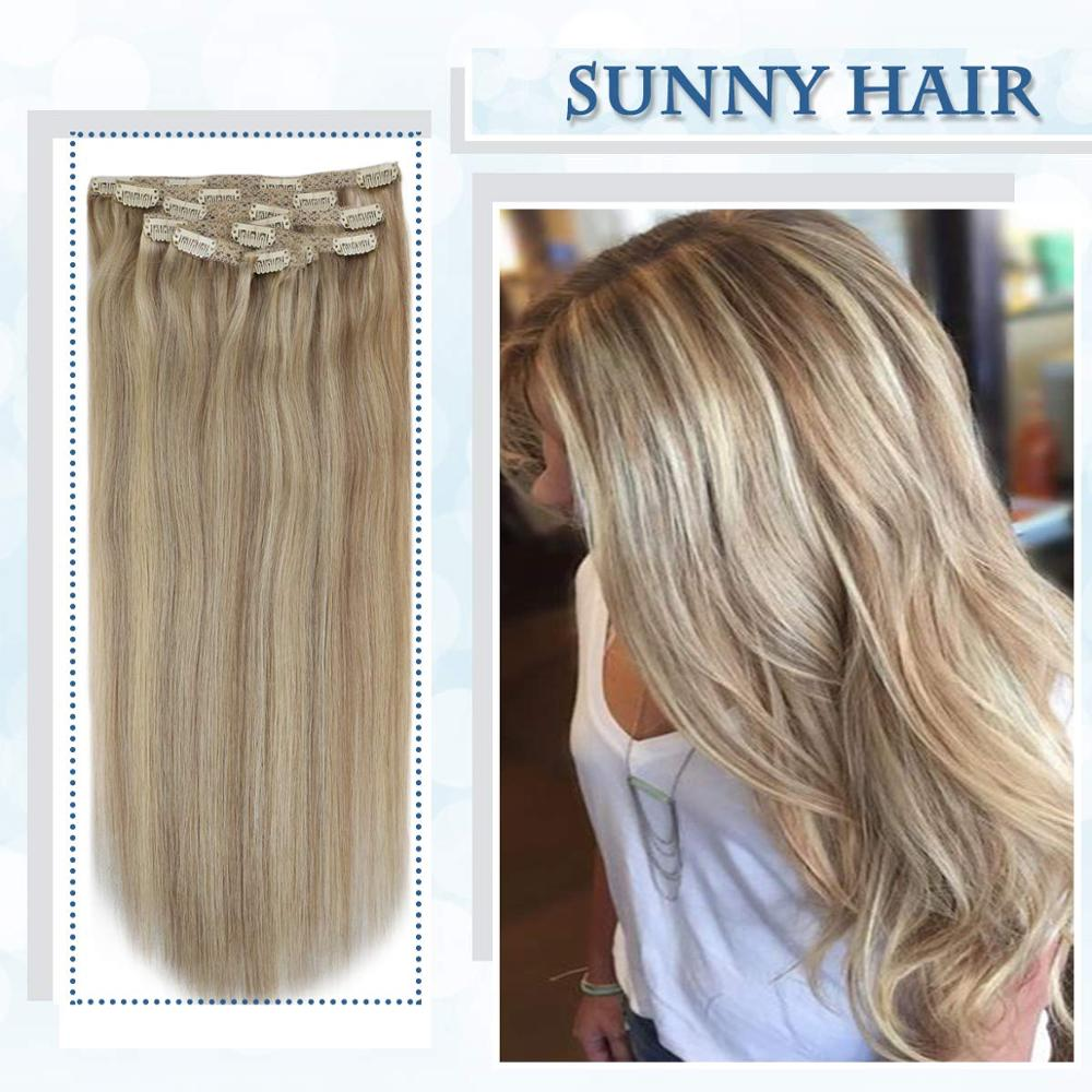 VeSunny Double Weft Clip In Hair Extensions Human Hair 7pcs Clip On Extensions Highlighted Color Ash With Light  Blonde #18/613