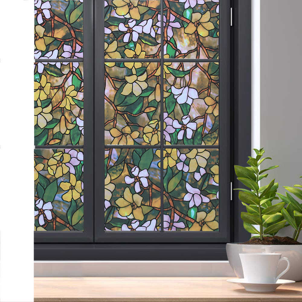 LUCKYYJ Privacy Window Film Stained Pellicola Autoadesiva Rimovibile Elettricità Statica Decor Autoadesivo della Finestra di Vetro Anti-Uv Finestra Cieca