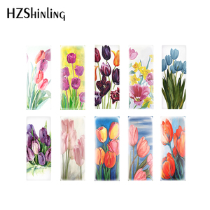2020 New Tulips Photo Cabochons Tulip Flower Painting Glass Cabochon Round Square Heart Tear Drop Oval Rectangle Jewelry