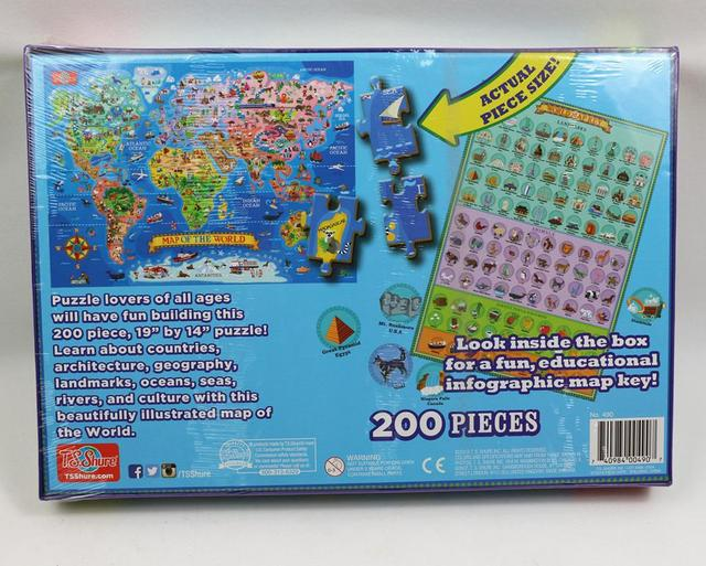 200pcs United States World Map Jigsaw Puzzle Animals World Paper Puzzles Adult Decompression Games Kid Children Educational Toys 5