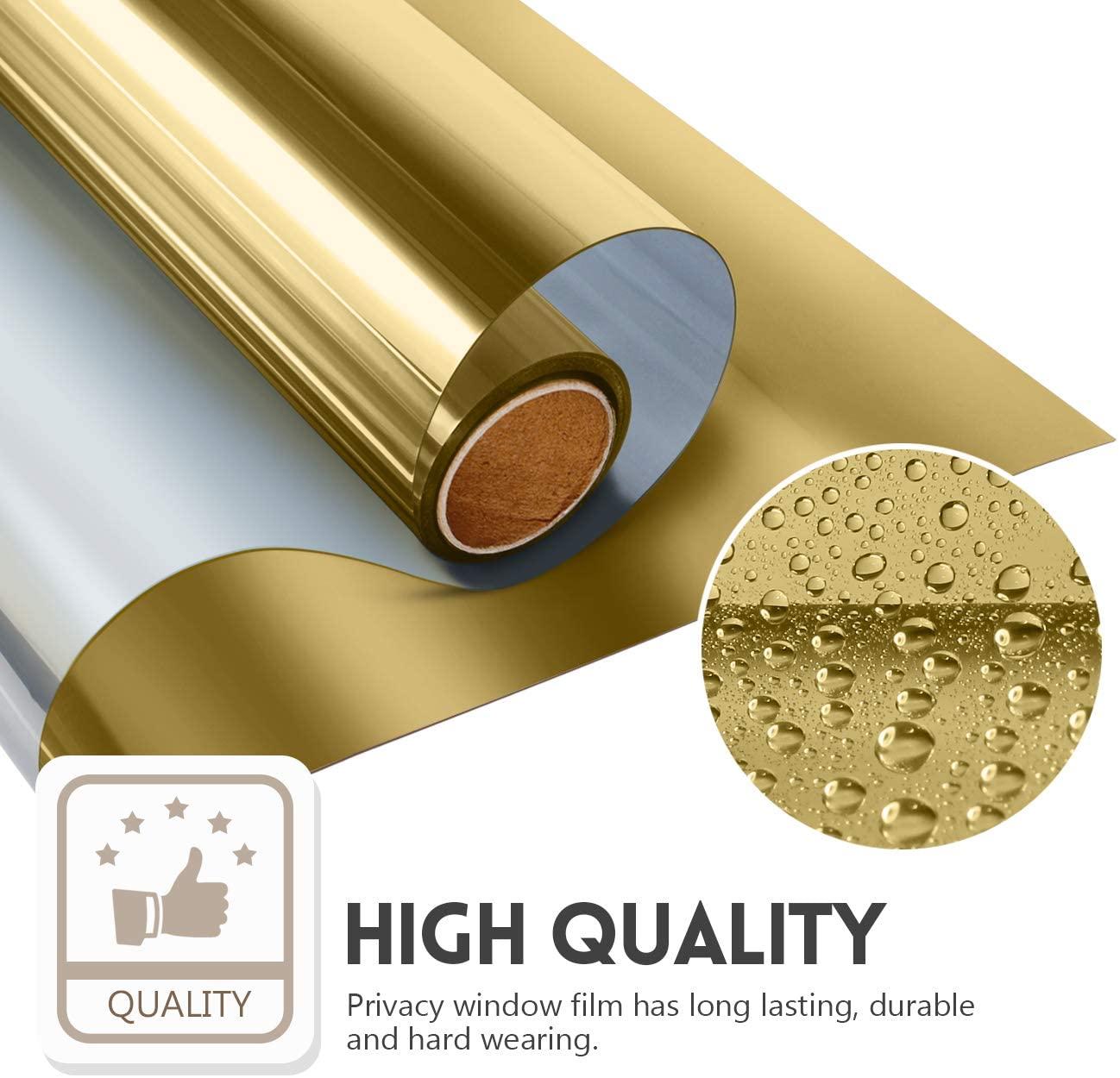 One Way Window Film Privacy Anti-UV Window Sticker Heat Control Reflective Glass Tint for Home Self Adhesive Vinyl Film (Gold) 1