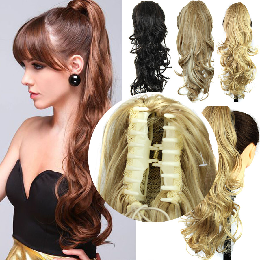 Fashion Women Hair Accessories 24 Inch Long Curly High Temperature Fiber Synthetic Claw Clip Ponytail Hair Accessories
