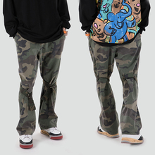 High Street Knee Ribbons Camouflage Cargo Pants Mens Drawstring Straight Loose Casual Flare Pants Hip Hop Baggy Trousers