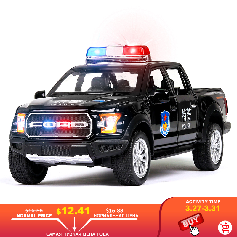 FORD RANGER 1:32 Car Model Diecasts Toy Vehicles Sound Light Pull Back Hot Sale Glowing Police Kids Toys Car Christmas Baby