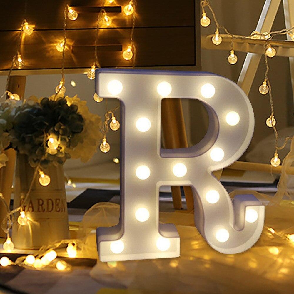 Festival Rave Alfabeto Luci LED Bianco R Lettera Del Modello di Plastica Lampade Camera Da Letto di Casa Sfondo Festa di Compleanno Hanging Decor