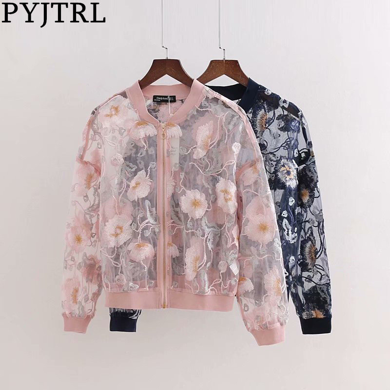 PYJTRL Women's Vintage Floral Embroidery See Through Jacket Women Fashion Casual Coat  Zipper Streetwear Outerwear