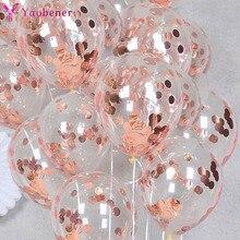 10 шт. 12-дюймовые воздушные шары с конфетти цвета розовое золото, украшение для первого дня рождения, украшение для детей, мальчик, девочка, мо...