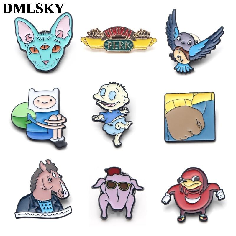 DMLSKY BoJack Horseman pins Funny Cartoon Enamel Pins backpack badge men lapel tie jewelry gift brooch M2140