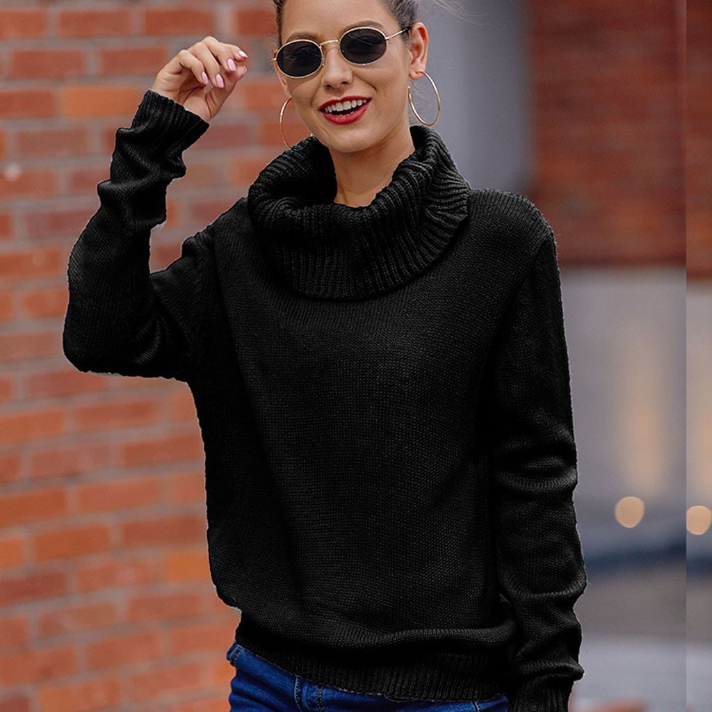 Turtleneck Sweaters Women Winter Jumpers Knitted Fashion Striped Oversized Pullover Female Wholesale Dropshipping New