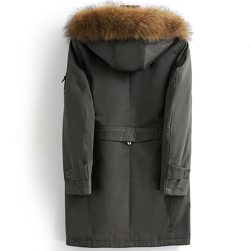 Parka Real Fur Mens Mink Coat Winter Jacket Men Hooded Raccoon Fur Collar Long Coat Parkas Manteau Homme Hiver KJ1406