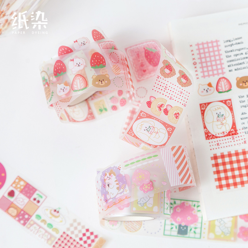 Kawaii Strawberry Candy Bullet Journal Handmade Decorative Washi Tape Transparent Label Stickers Adhesive Tape Decor DIY Planner