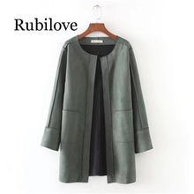 все цены на Rubilove New Big Size Plaid woolen coat Women long section Coat Autumn winter new Large Size Female long deer suede jacket cardi онлайн