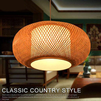 Handmade Hanging Lamp Hand Knitted Bamboo Kitchen Fixtures Light Suspension Home Indoor Dining Room Modern LED Wood Pendant Lamp