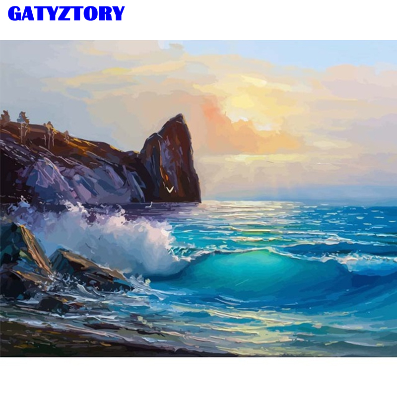 GATYZTORY Frame Paint By Numbers Landscape Home Decor Acrylic Modular Digital Oil Painting Ocean Seaside Wall Art