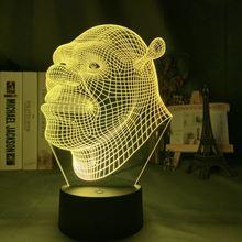 Светодиодный ночсветильник с голограммой в виде Шрека 3d иллюзионная