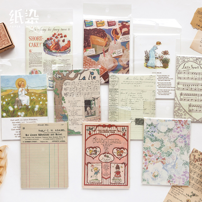 50 Sheets/Pack Vintage Memo Pads Retro Sticky Notes DIY Scrapbooking Journal Diary Decoration Notepad Paper School Stationery