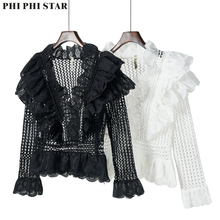 Phi Phi Star Brand Lace Shirt Autumn Black Cutout Long Sleeve V-neck Laminated Ruffled Slim Short Top ruffled long sleeve top in black